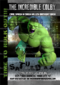 Incredible Hulk Invitation, Incredible Hulk Party, Hulk Birthday Invite