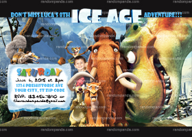 DIY Ice Age invitation, Dinosaur Party, Ice Age Birthday Invite