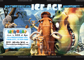 DIY Ice Age invitation, Dinosaur Party, Ice Age Jurassic Invite