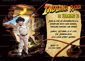 Personalize Indiana Jones Invitation, Adventure Party, Treasure Hunt Invite