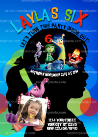 Inside Out Invitation, Inside Out Party, Inside Out Birthday Invite, Child Silhouette