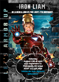 Iron Man Invitation, Personalize Avengers Party, Iron Man Birthday Invite