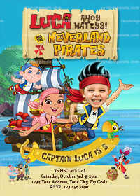 Personalize Jake and the Neverland Pirates Invitation, BE Jake Birthday Invite