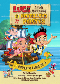 Jake and the Neverland Pirates Invitation, Boy Pirate Birthday Invite