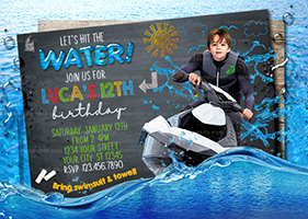 Personalize Funny Jet Ski invitation, Lake Party, Jet Ski on the Ocean Birthday Invite