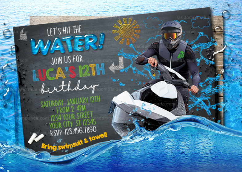 Jet Ski invitation, Lake Party, Jet Ski on the Ocean Birthday Invite