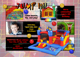 DIY Moonwalk Jump Invitation, Inflatable Bounce House Party Invite