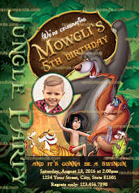 Personalize Jungle Book Invitation, Mowgli Party, Jungle Book Birthday Invite