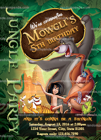 Jungle Book Invitation, Mowgli Party, Jungle Book Birthday Invite