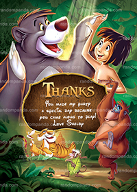 Jungle Book Thank You Card, Mowgli Party, Jungle Book Thanks Note