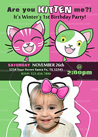 Personalize Funny Kitten Invitation, BE Kitty Party, Cats Birthday Invite