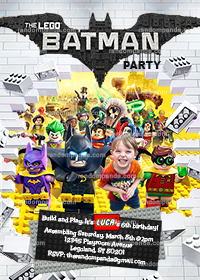 Personalize Batman Lego Invitation, Superhero Legos Party Invite