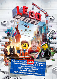 Personalize Lego Invitation, Lego Party, Legos Birthday Invite