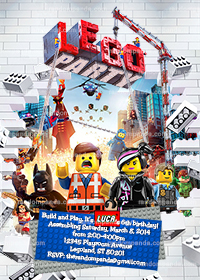 Lego Movie Invitation, Lego Party, Legos Birthday Invite