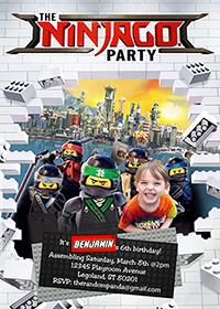 Personalize Lego Ninjago Invitation, Lego Party, Ninjago Birthday Invite