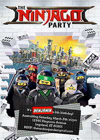 Lego Ninjago Invitation, Lego Party, Ninjago Birthday Invite
