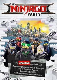 Lego Ninjago Invitation, Lego Party, Ninjago Birthday Invite