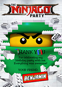 Lego Ninjago Thank You Card, Lego Party, Ninjago Birthday Thanks Note
