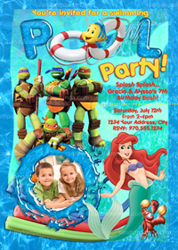 DIY Little Mermaid Invitation, TMNT Party, Twins Invite, Pool Party