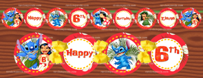 DIY Lilo and Stitch Banner, Lilo and Stitch Party, Lilo & Stitch Birthday