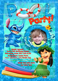 Lilo and Stitch Invitation, Stitch Pool Party, Beach Party Invite