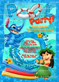 Lilo and Stitch Invitation, Stitch Party Invite, Stitch Pool Party