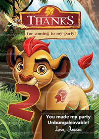 Lion Guard Thank you Card, Lion Guard Party, Kion Birthday Thank you Note