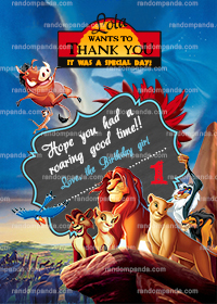 Lion King Thank You Card, Kovu Thanks, Simba Thank You Note