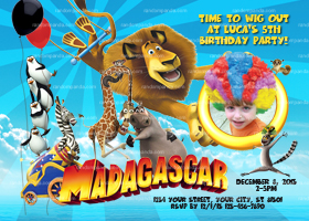 Personalize Madagascar 3 Invitation, ADD Wig, Madagascar Party Invite