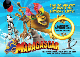 Madagascar 3 Invitation, Madagascar Party, Madagascar Birthday Invite