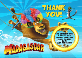 Madagascar Thank You Card, Madagascar Birthday Party Thanks Note