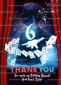 Magician Thank You Card, Magic Show Party, Wizard Birthday Thanks Note