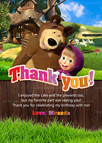 Masha and the Bear Thank You Card, Masha and Bear Birthday Party Thanks Note