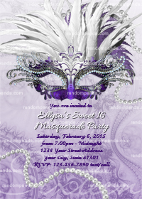 Masquerade Ball Invitation, Sweet 16 Party, Masquerade Invite, Purple Quinceanera