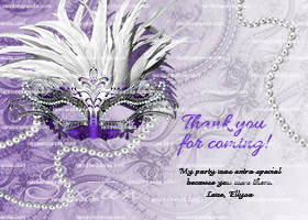 Masquerade Ball Thank You Card, Sweet 16 Party, Purple Quincea?era Thanks Note