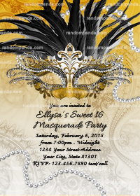 Masquerade Ball Invitation, Sweet 16 Birthday Party Invite, Black and Gold Quinceanera
