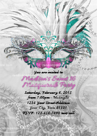 Masquerade Ball Invitation, Sweet 16 Party, Masquerade Invite, Pink Quinceanera