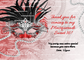 Masquerade Ball Thanks Note, Sweet 16 Party, Red and Black Quincea?era Thank You Card