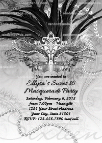 Masquerade Ball Invitation, Sweet 16 Birthday Party Invite, Black and Silver Quinceanera