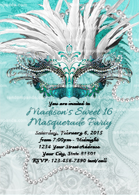 Masquerade Ball Invitation, Sweet 16 Party, Masquerade Invite, Teal Quinceanera