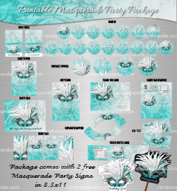 Masquerade Mask Party Package, Teal Birthday, Pearls Quincea?era Bundle