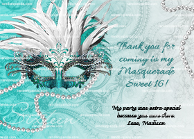Masquerade Ball Thank You Card, Sweet 16 Party, Teal Quincea?era Thanks Note