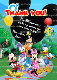 Mickey Mouse Clubhouse Thank You Card, Minnie Mouse Party Thanks Note