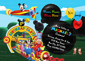 Personalize Mickey Mouse Ride the Train Invitation, Mickey Mouse Plane Party Invite