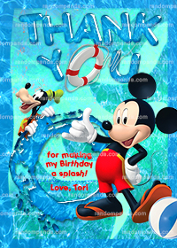 Mickey Mouse Swim Thank you Card, Mickie Pool Party, Goofy Thank you Note