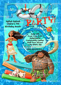 Disney Moana Invitation, Maui Swimming Pool Party, Moana Birthday Invite