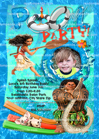 Personalize Moana Invitation, Maui Pool Party, Moana Birthday Invite