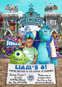 Personalize Monsters University Invitation, Monsters Inc Birthday Party Invite