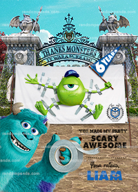Monsters University Thank You Card, Monsters Inc Birthday Party Thanks Note