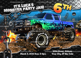 Monster Truck invitation, Monster Trucks Birthday Party Invite